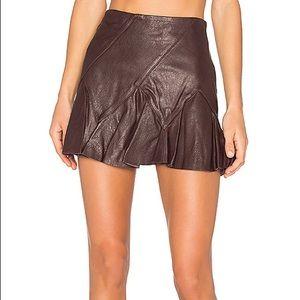 Derek Lam Crosby Flare Leather Mini Skirt
